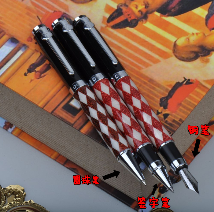 Duke Prince William Series Twinkle Red and White Checker Fountain Pen with Silver Clip 0.5mm Nib Metal Ink Gift Pens for Lover<br>