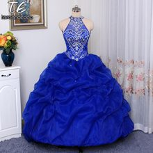 Halter Neckline Hand Beading Pick Up Ball Gowns Quinceanera Dress Royal Blue  Open Back Organza Puffy Sexy 16 Dress 75c919aaf7c1
