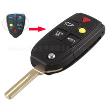 5 Buttons Flip Folding Car Key Shell Replacement for Volvo XC70 XC90 V50 V70 S60 Car Key Case Remote Car Cover No Chip