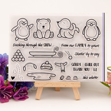 Penguins / sleds Transparent Clear Silicone Stamp/Seal for DIY scrapbooking/photo album Decorative clear stamp sheets