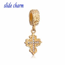 slide charm Free shipping Europe and the new listing gilded carved cross pendant religious amulet  beads fit Pandora bracelet