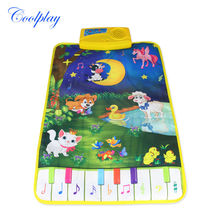 Coolplay 37.5x62cm Modern New Kid Baby Touch Play Game Carpet Mat Musical Toy Singing Music Moon and animals CP2301nc