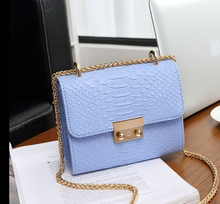 New fashion mini bag chain Crocodile pattern women's handbag small laptop messenger shoulder bag with chain blue l6598(China)