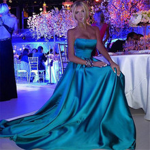 Prom Dresses 2016 New Abiti Da Cerimonia Da Sera Satin Blue Floor Length Evening Dress Long Party Gowns