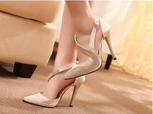 2017 New Sexy Rhinestone High Heels Elegant Crystal Women Pumps S Shape Strap Women Sandals  Wedding Party Shoes
