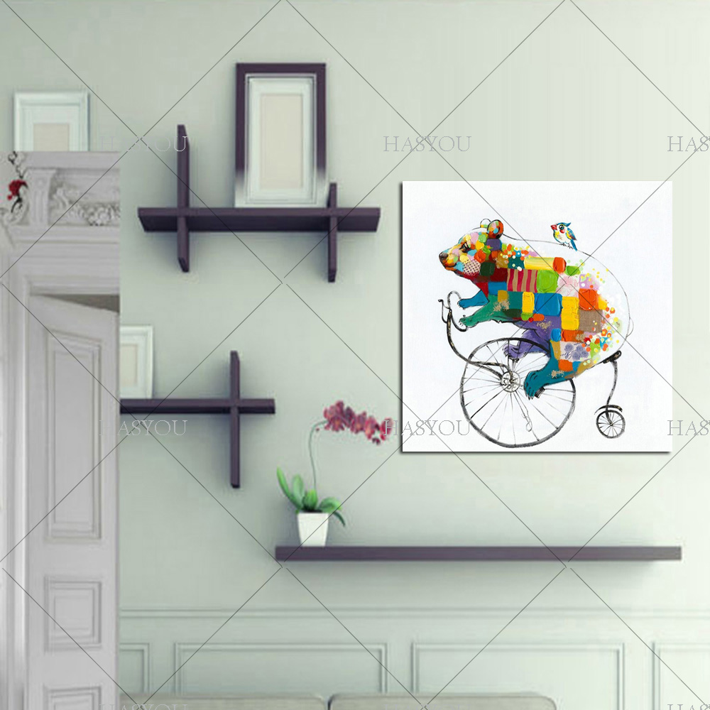 Hand-painted Canvas Oil Paintings Lovely Bear Riding Bicycle Wall Art Animal Modern Abstract Oil Painting Bear for Home Decor(China (Mainland))
