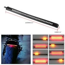 Universal Flexible 32SMD Motorcycle Light StripTail Brake Stop Turn Signal Light License Plate Lamp Red Amber Integrated 3258 LE