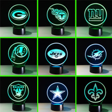 2017 New Remote nfl Team Logo Collection 3D Light 7 Color Changing Football Cap Helmet Atmosphere Nightlight Fans Christmas Gift(China)