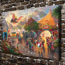 H1399 Thomas Kinkade Prosperous Street Dumbo. HD Canvas Print Home decoration Living Room bedroom Wall pictures Art painting