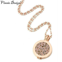 Vinnie Design Rose Gold Pendant Necklace 33mm Peach Picante Coin+ 35mm Plain Coin Holder+80cm Two Color Alegre Chain(China)