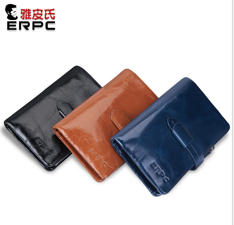3 Colors/ Men Vintage Genuine Leather Organizer  Wallet Solid Color Pure Oil Wax Leather Bifold Purse Big Capacity  High Quality<br>