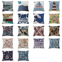 Elegant Hot Pillowcase Boho Ukiyo-E Marine Life Cushion Covers Camping Cotton Linen Home Decor Printing Sea Throw Pillowcover