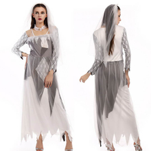 2018Halloween cosplay costume Halloween ghost vampire cosplay lace gauze ghost bride costume masquerade white long dress(China)