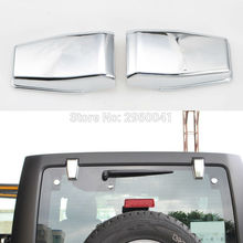 2pcs Liftgate Rear Door Window Glass Hinge Covers Exterior Car Styling Chrome ABS Trim For Jeep Wrangler 2008-2017