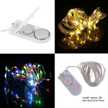 3m IP66 Waterproof 30 Led Silver Wire String Light Christmas Wedding Party Decoration Lamp With Button Battery Super Bright(China)