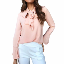 Fashion New Women Blouse Shirt Chiffon Blouse Elegant Long Sleeve Shirt With Bow Tie Office Lady Wear Female Tops WS572M
