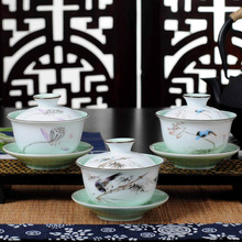 Exquisite Gaiwan tea set,Chinese traditional flower and bird pattern teacup,porcelain teapot tea set for travel easy kettle