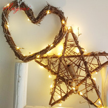 New rattan star & heart design copper silver string fairy lights,wedding holiday new year decor, new born gift.