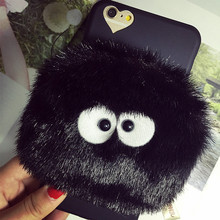 2016 new phone case for iPhone 6 6S 6plus 6Splus 7 7plus totoro bLACK briquettes fur purse bag wallet small cover free shipping