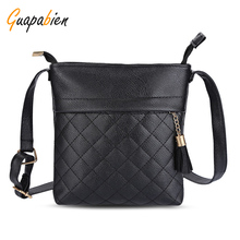 Guapabien Casual Women Shoulder Bag Plaid Leather Ladies Crossbody Bags With Tassel Female Small Shopping Fringe Bag