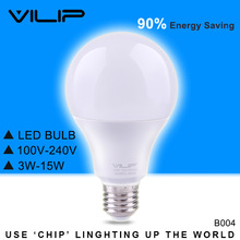 Vilip LED Bulb Real Watt E27 B22 3w 5w 7w 9w 12w 15w 110v 220v SMD2835 Bombillas LED Lamp For Home Market No Flash NoiselessB004(China)