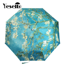 Yesello Vincent van Gogh Almond Blossom Oil Painting Three Folding Art Umbrella 8 Rib Wind Resistant Frame For Women(China)