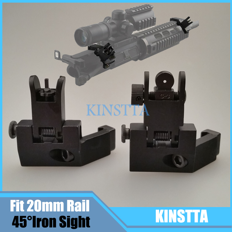 Hunting Tactical AR15 Airsoft Front and Rear flip up 45 Offset Degree Rapid Transition Backup Iron Sight Fit 20mm Picatinny rail<br><br>Aliexpress