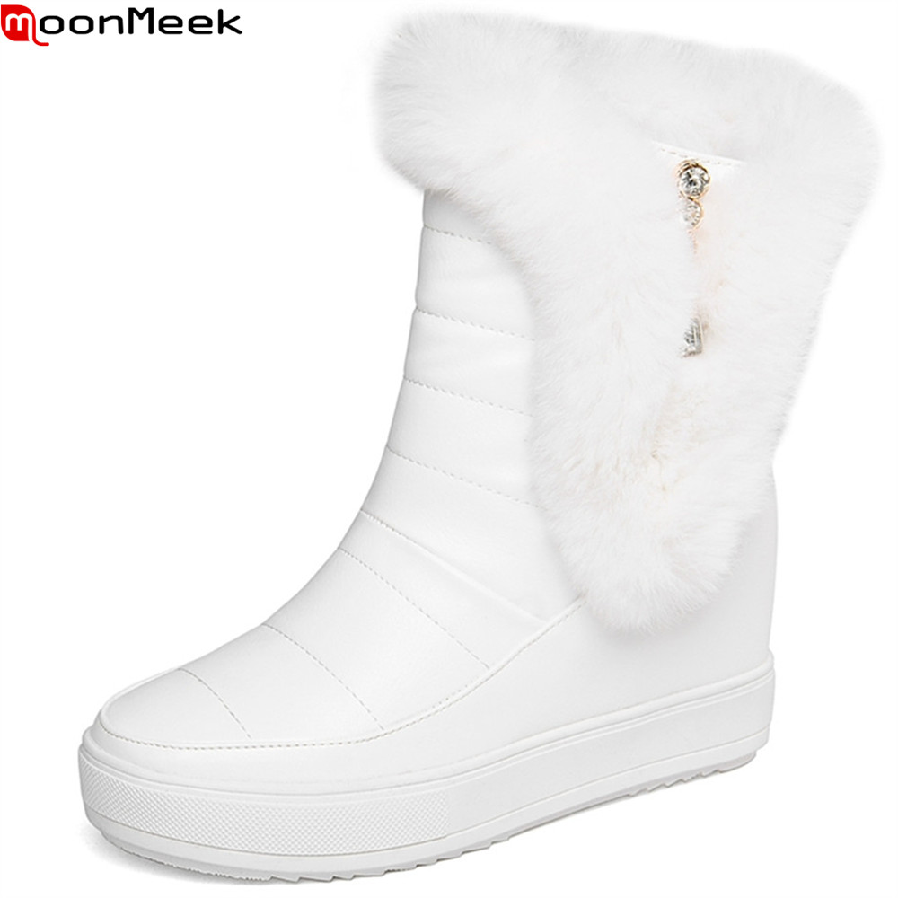 MoonMeek fashion winter new arrive women boots round toe zipper ladies boots height increasing black white keep warm ankle boots<br>