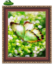 5D DIY Diamond Painting By Numbers Green Butterfly Flower Cross Stitch Embroidery Rhinestones Home Decoration Wall Sticker(China)