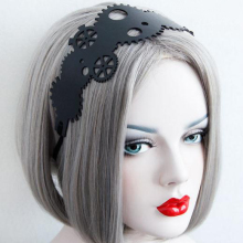 Gothic Steam Punk Black PU Leather Hairbands Gear Headbands Woman Hair Accessories Steampunk
