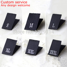 Custom your design woven black size label S M L XL XXL XXXL XXXXL 5XL 6XL 7XL tags MZ-2158(China)