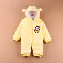 Newborn Baby Boys Girls Rompers Baby Long Sleeve Thicken Warm Coral Fleece Jumpsuit Winter Bebe Outdoor Sports Climbing Clothes(China)