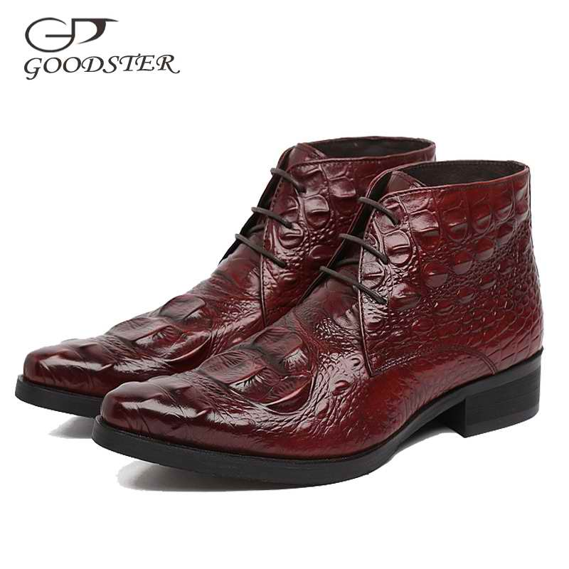 Goodster Luxury Crocodile Skin Print Genuine Leather Black Brown Orange Slip On Round Toe Mens Dress Shoes GSTD016
