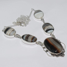 Botswana Agates Necklace Silver Overlay over Copper ,50.3cm, N1215(China)