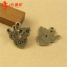 18*20MM Retro couple series mobile phone accessories wholesale jewelry, lovers love heart animal bronze charm for jewelry making