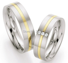 2014 bicolor gold plating western custom health titanium couples promise wedding ring anillos(China)