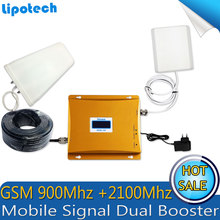 Diy Kit GSM 900Mhz 3G W-CDMA 2100Mhz Dual Band Cell Phone Signal Booster GSM 900 2100 UMTS Signal Repeater With LCD Display