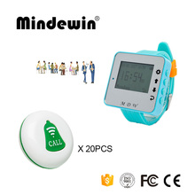 Mindewin New Wireless Waiter Calling System 20PCS Service Call Button M-K-1 + 1PCS Watch Pager M-W-1 Restaurant Service System(China)