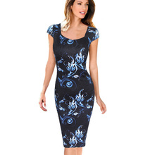 Free Shipping Designer Women Dress Elegant Floral Print Cap Sleeve Work Business Casual Party Vestidos Be004-3