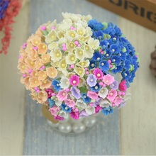 8pcs/40heads 1cm Mini Paper Rose Flowers Bouquet Wedding Decoration Paper Flower For DIY Scrapbooking Flowers Paper Cheap Flores