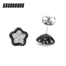 Buy New Bling Crystal Star Stud Earrings Classic Black White Ceramic Healthy Simple Fashion Jewelry Women Girls Party Gifts for $4.16 in AliExpress store