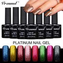 Vrenmol 1pcs Platinum UV Gel Shining Nail Gel Polish Platinum Long-lasting UV/LED Fingernail Gel Glitter Manicure