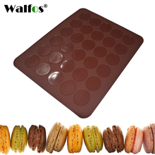 WALFOS 1 pc 30 Holes Macarons Mat Round Shape Silicone Gel Pad Macarons Mat Fit To Oven Microwave Refrigerator Macaron Mat(China)