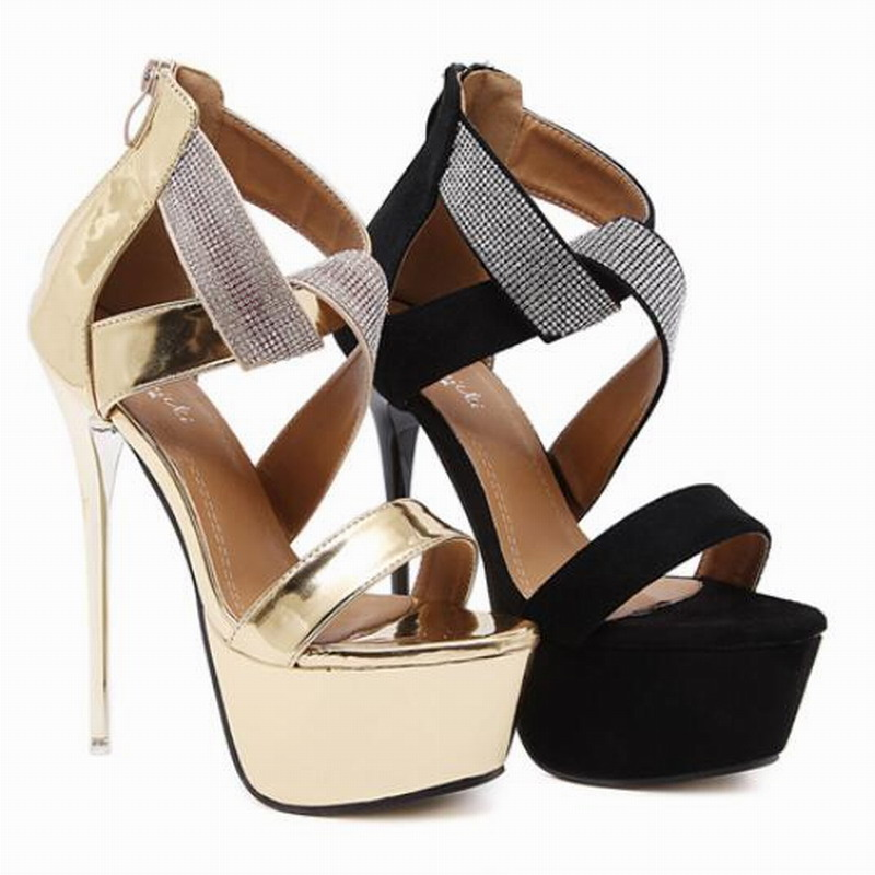 US5-9 New Summer Style womens sexy high heels Rhinestone stiletto sandals High platform ladies pumps suede leather shoes Woman <br><br>Aliexpress