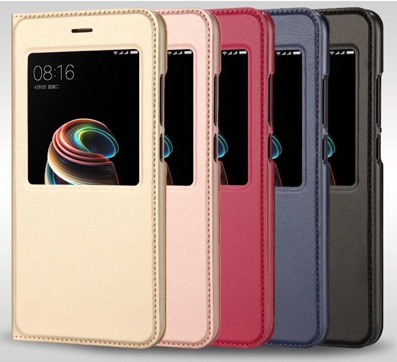 view quick answer open window leather flip case for xiaomi mi A1 mi 5x   03