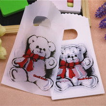2016 New Design Wholesale 50pcs/lot 9*15cm High Quality White Lovely Bear Small Present Packaging Bags Plastic Gift Bags(China)
