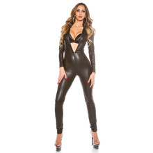 Buy new light Stand collar Cardigan Double head zipper open crotch bodysuit sexy lingerie porno bodystocking latex catsuit leather