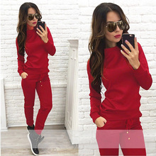2017 Autumn Women Set Casual Fashion Sport Red Track Suits Top And Pants Two Pieces Set Women Clothing