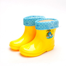 Warm Children Shoes Rain Boots with fur Kids Waterproof Shoes  Baby Rain Shoes Boy girls Rain Shoes EU Size 25-29 tx0758