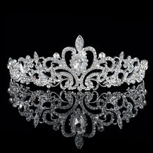 Celebrity Silver Plated High Quality Czech Crystal Floral  Wedding Crown Tiara Bridal Hair Jewelry Princess Hairwear Accessory